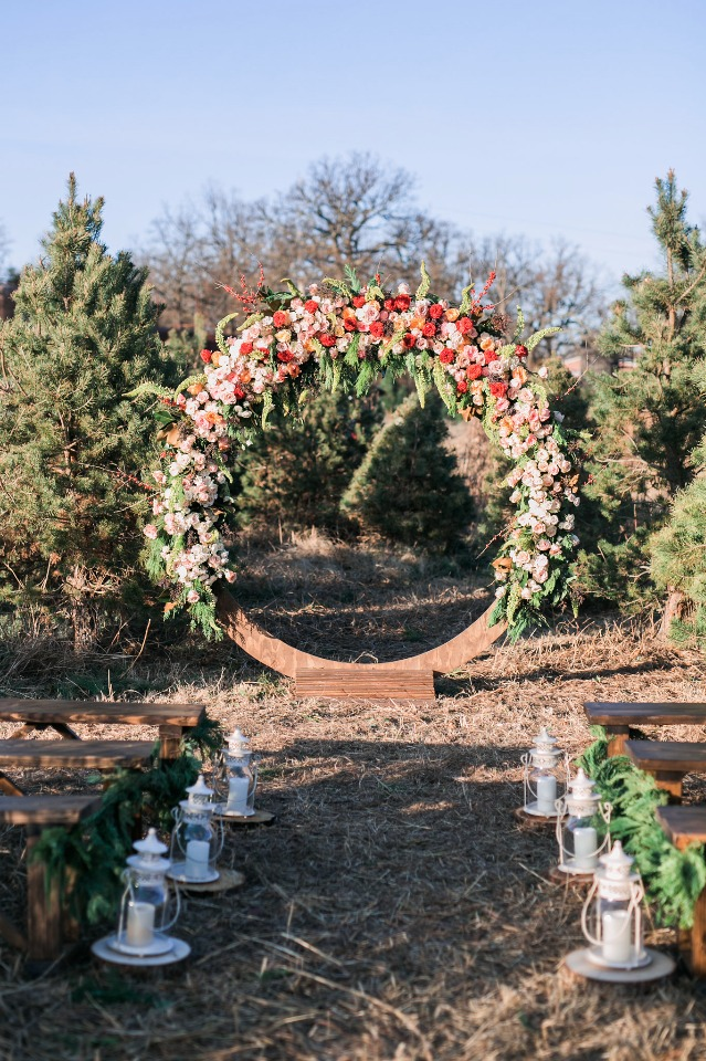 giant floral wreath wedding backdrop