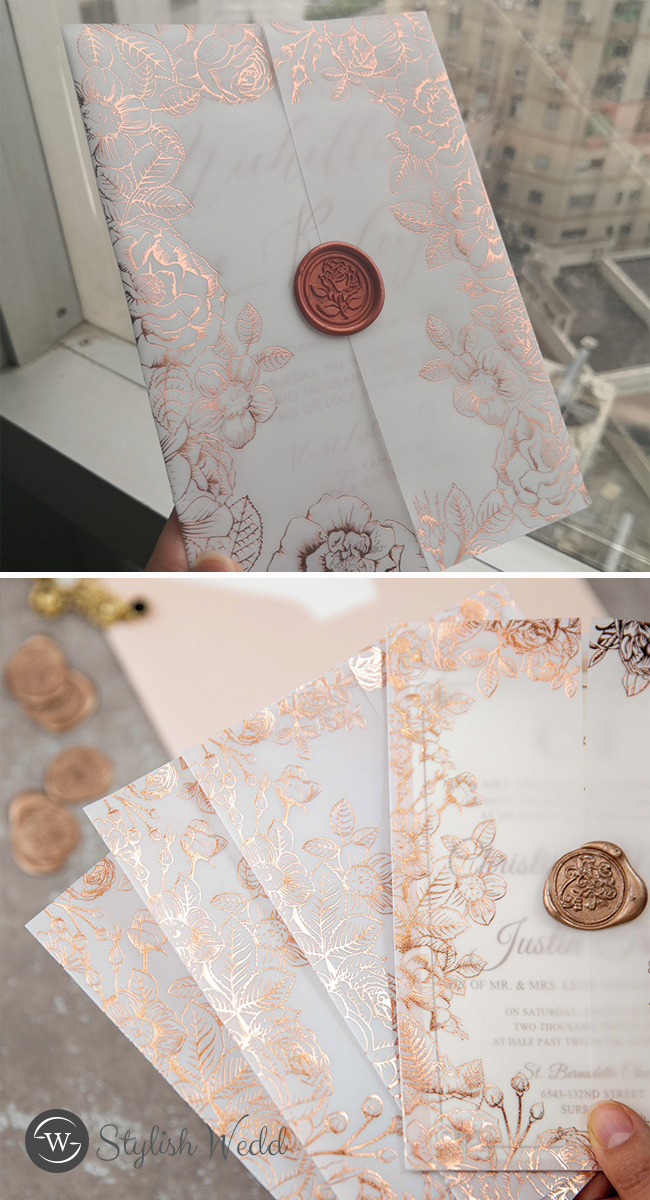 luxury rose gold foil floral vellum jacket wedding invitation with rose wax seal
