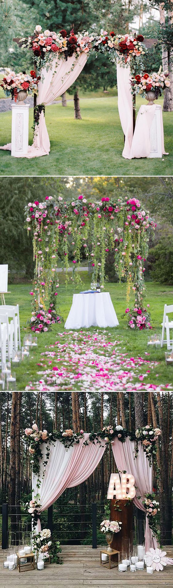 stunning outdoor floral and fabric wedding altar and arch ideas