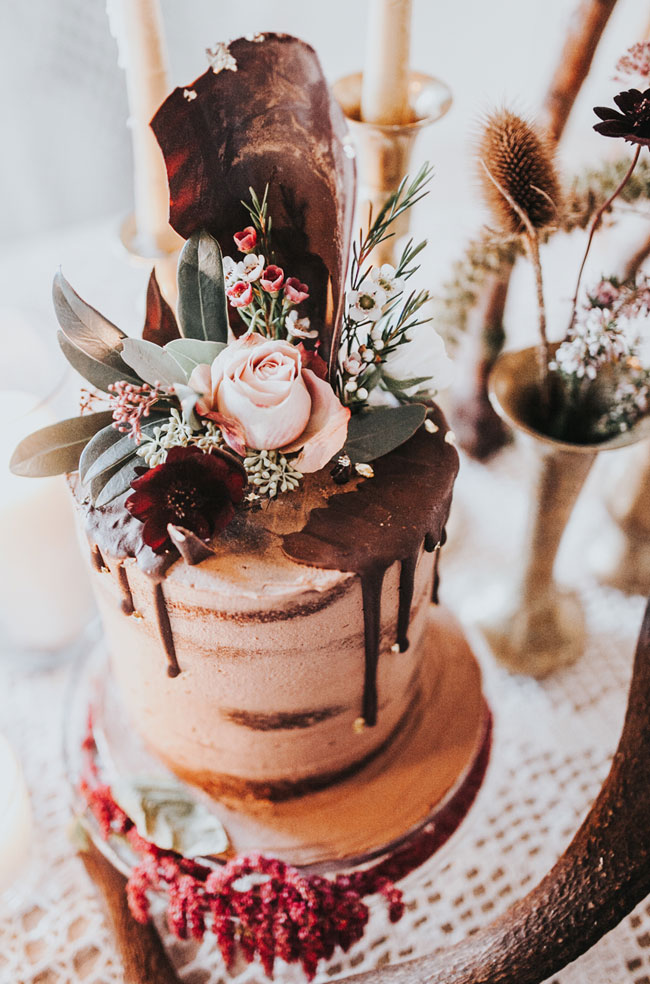 Boho Wedding Decadent Chocolate Bourbon Semi-naked Drip Stacked Cake with Fresh Florals