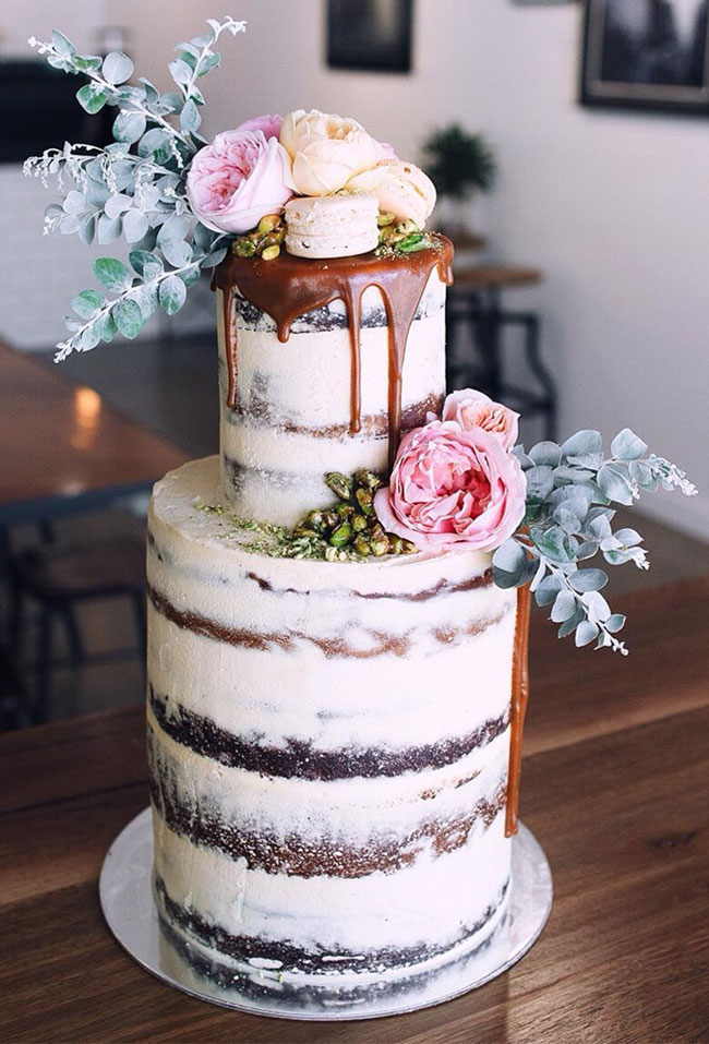 Dark Chocolate Brownie Salted Caramel Floral Drip Cake with Coconut and Pistachio