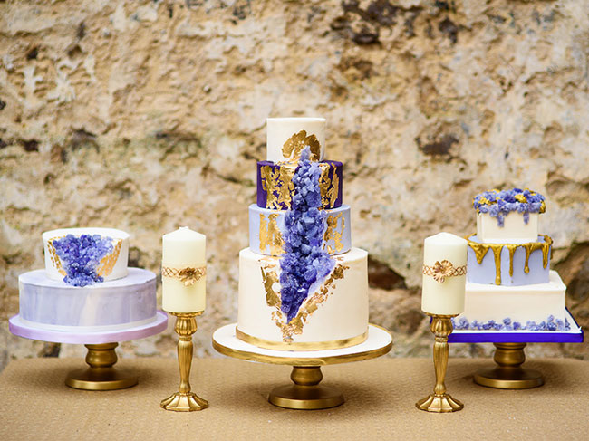 Jewel Toned Gold and Purple Crystal Wedding Cakes