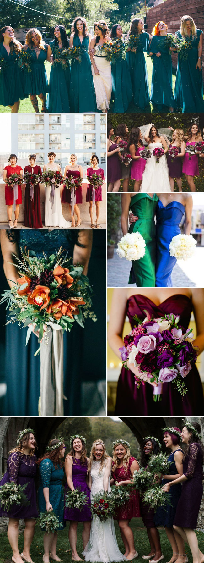 Jewel Toned Rich Colored Bridesmaid Dresses