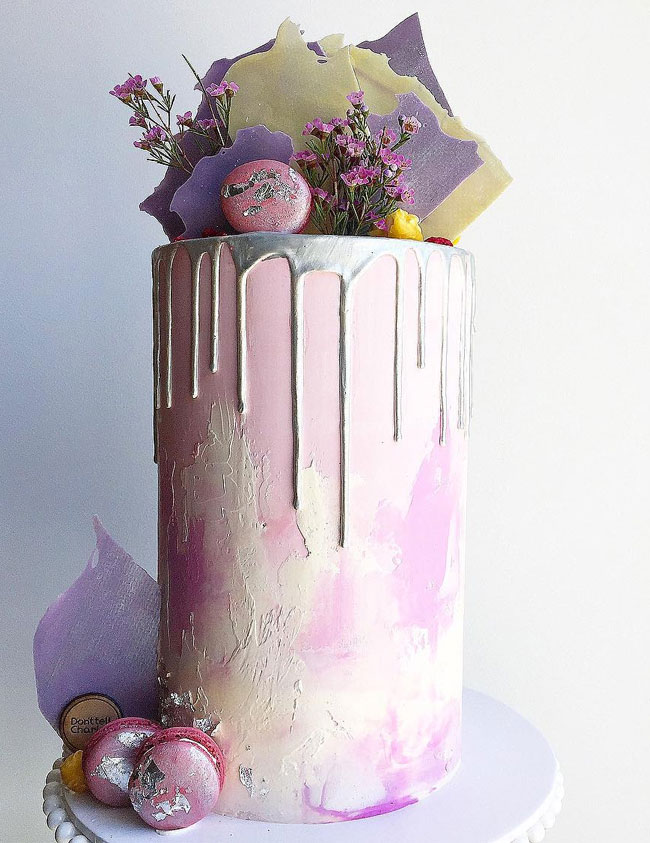 Lilac and Silver Watercolor Drip Wedding Cake