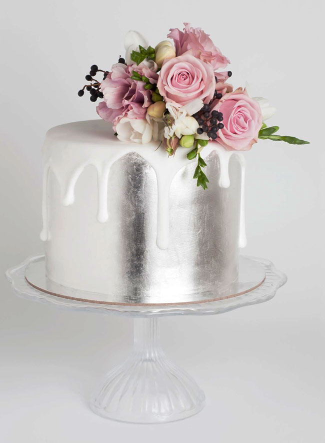 Luxurious Fresh Blooms Silver Cake with White Icing Drip