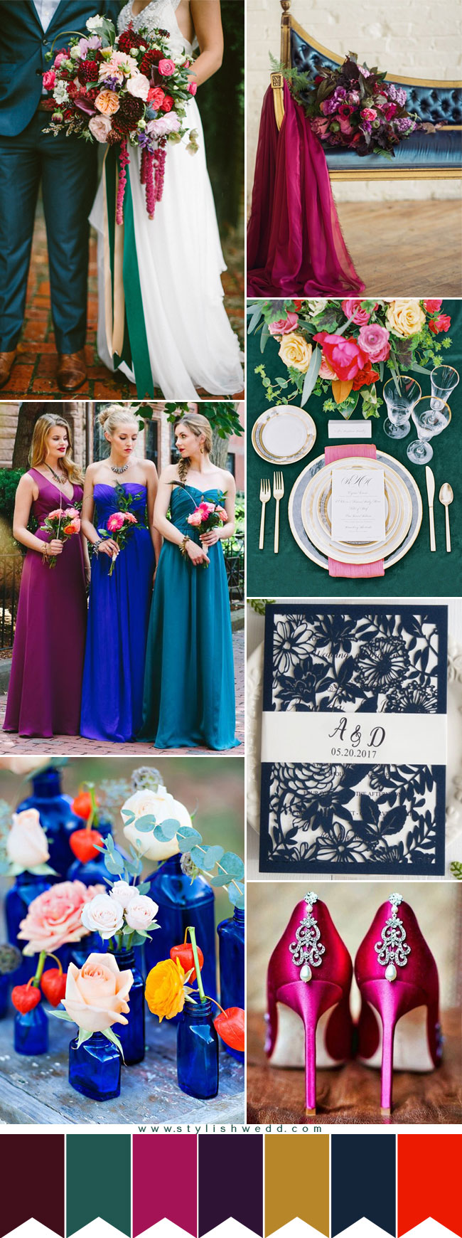 Moody Jewel-toned Wedding Color Palettes