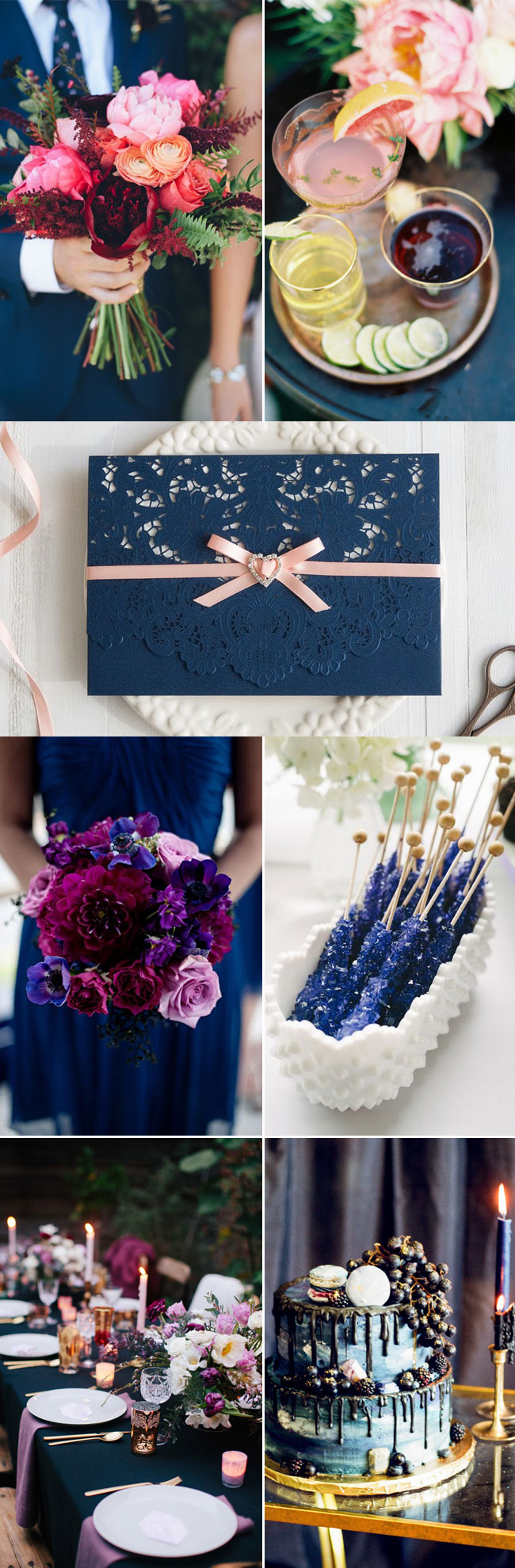 Navy Blue Jewel Toned Fall Winter Wedding Color Inspiration