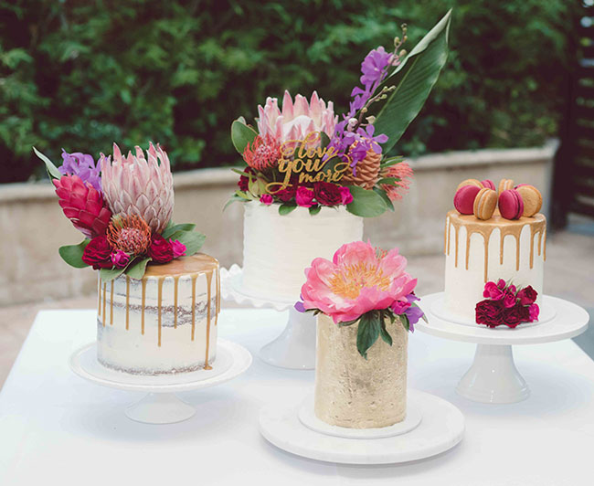 Pastel Pink Protea Peony and Macaron Topped Drip Cakes