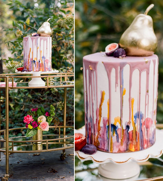 Rustic Fall Bold Watercolor Pear Figs Dripped Wedding Cake