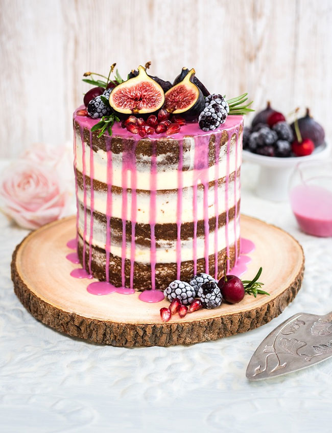 Wildly Romantic Drip Layer Cake Topped with Fresh Fruit DIY Recipe