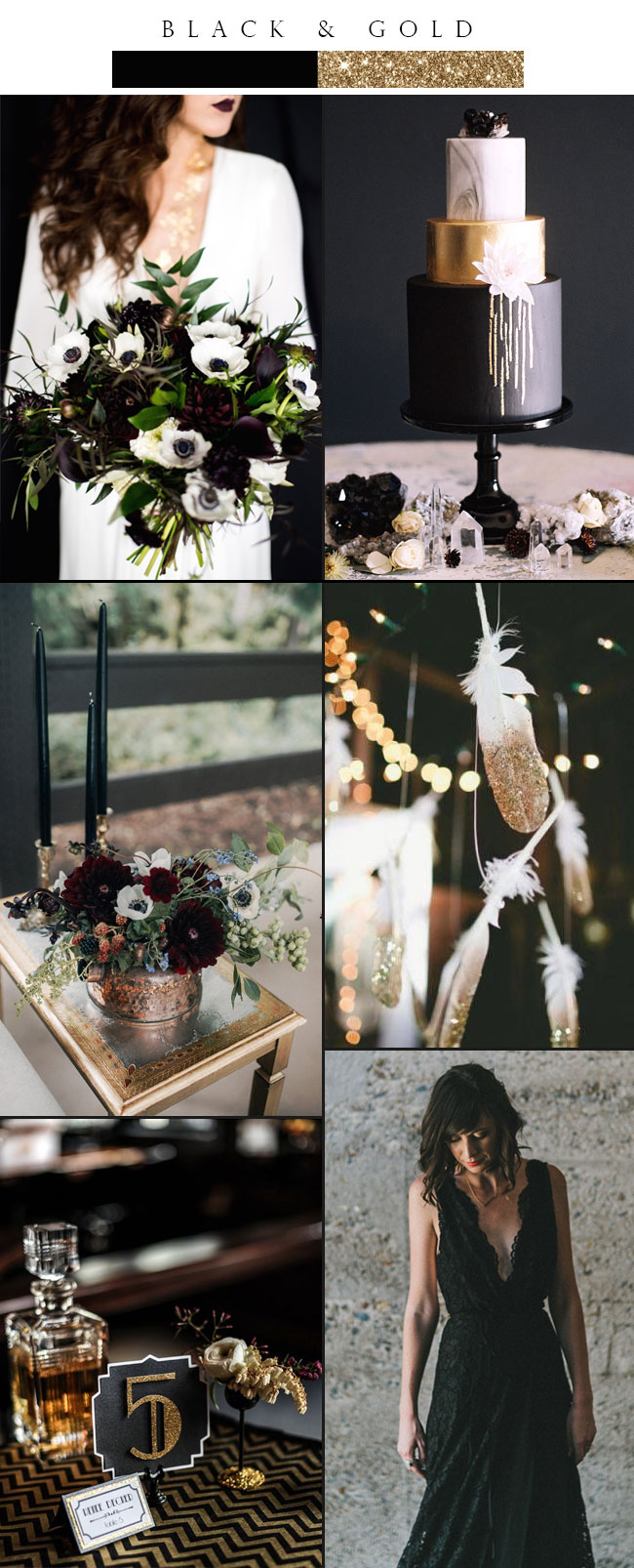 Glamorous Black and Gold Color Palette Inspiration for Winter Weddings