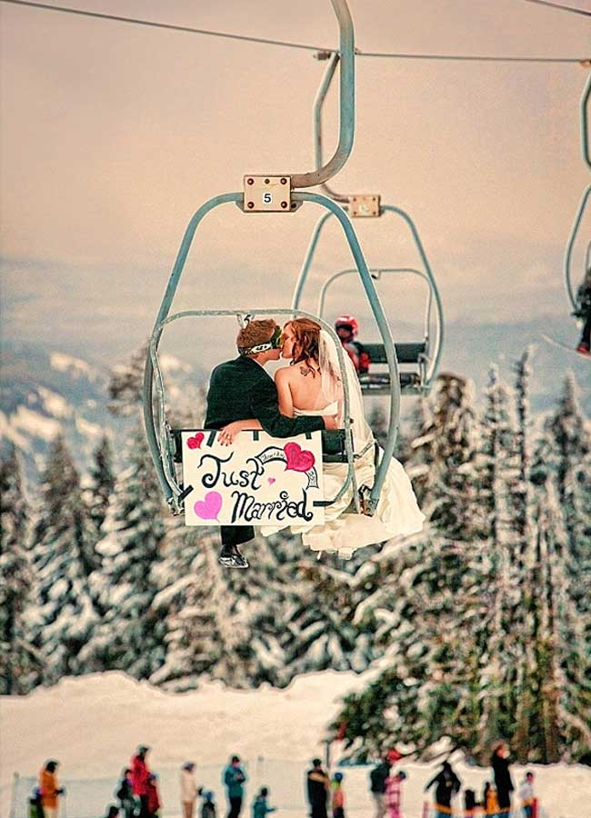 Amazing Winter Snow Wedding Ideas Photo On a Skilift