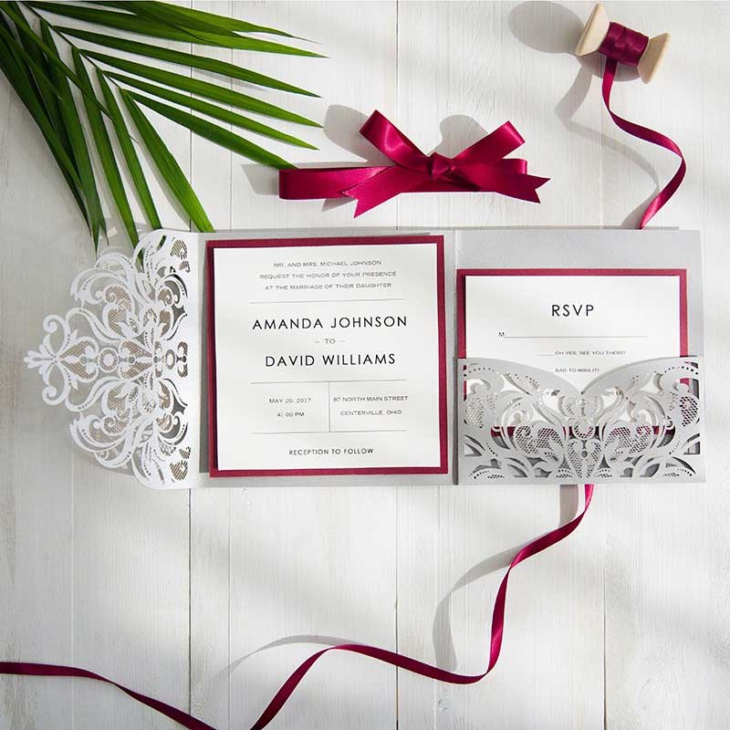 Burgundy And Gray Elegant Laser Cut Pocket Wedding Invitations SWWS042