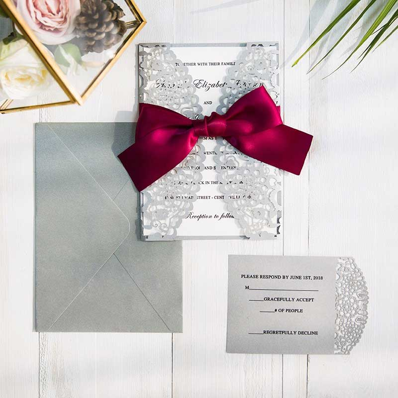 Burgundy And Gray Laser Cut Wedding Invitations SWWS043