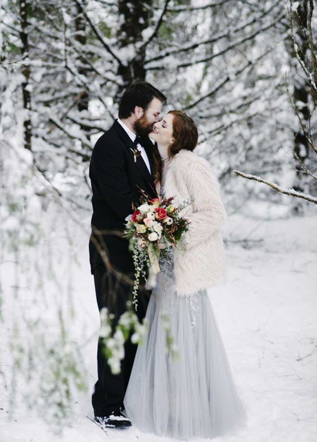 Cozy Winter Wedding Bride with Fur Coat