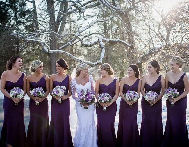Deep Plum Color Palette Snowy Wedding Inspiration