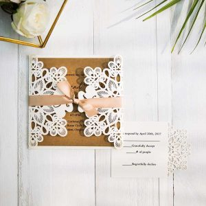 Fancy Ivory Laser Cut Pocket And Kraft Invitation For Wedding SWWS011