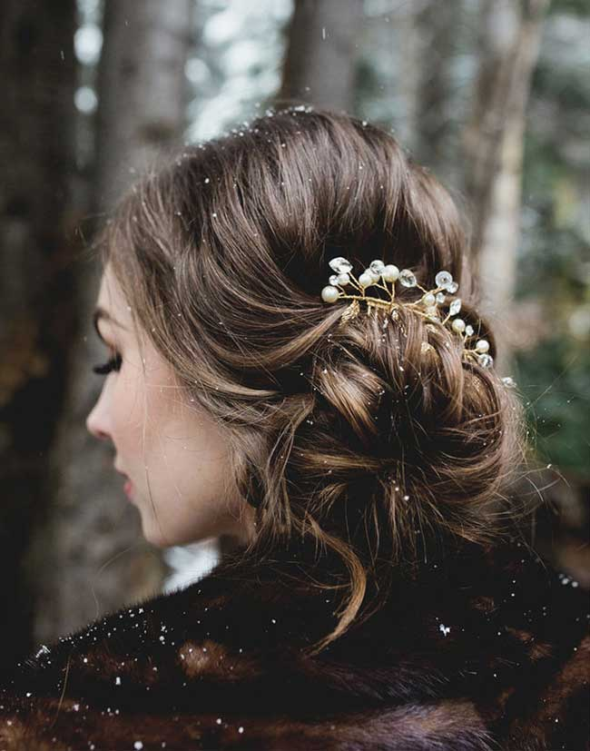 Gorgeous Updo Hairstyles Filled with Snow