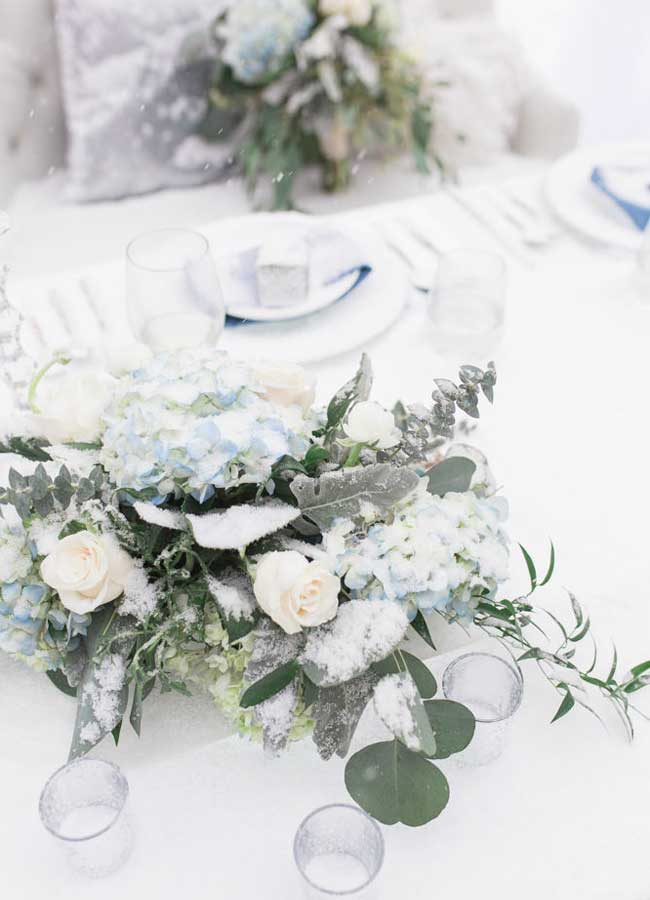 Magical Snow-filled Pale Blue Hydrangea Blooms Wedding Decorations