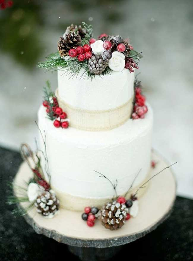 Pinecones Greenery and Cranberries Festive Wedding Cake Inspiration