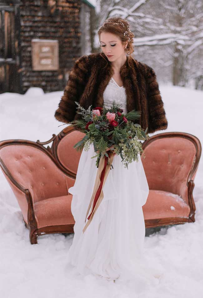 Romantic Snowy Winter Wedding with Moody Color Palette