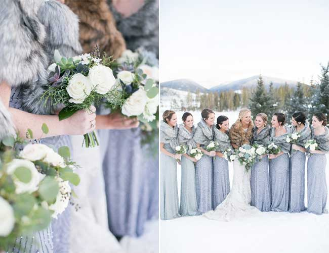 Sparkling Beaded Bridesmaid Dresses with Fur Wraps for Snowy Wedding