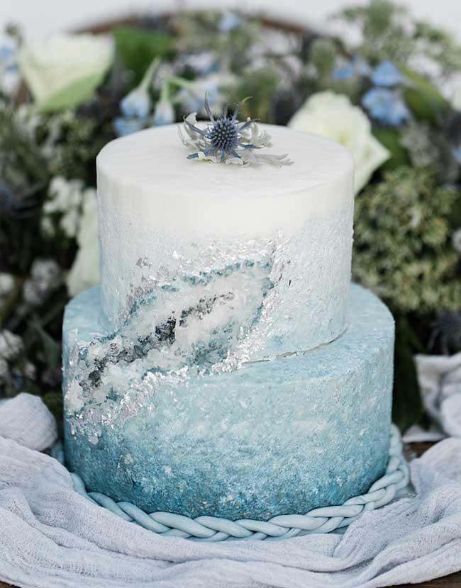 White and Pale Blue Gemstone Snowy Winter Wedding Cake