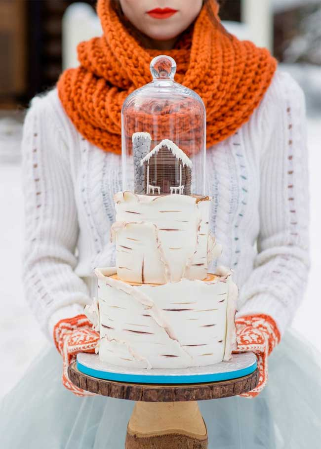 Winter Snowy Wedding Idea Birch Bark Cabin Wedding Cake Topped with Glass Cloche