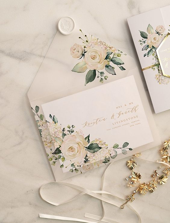 chic beautiful greenery floral vellum envelop ideas