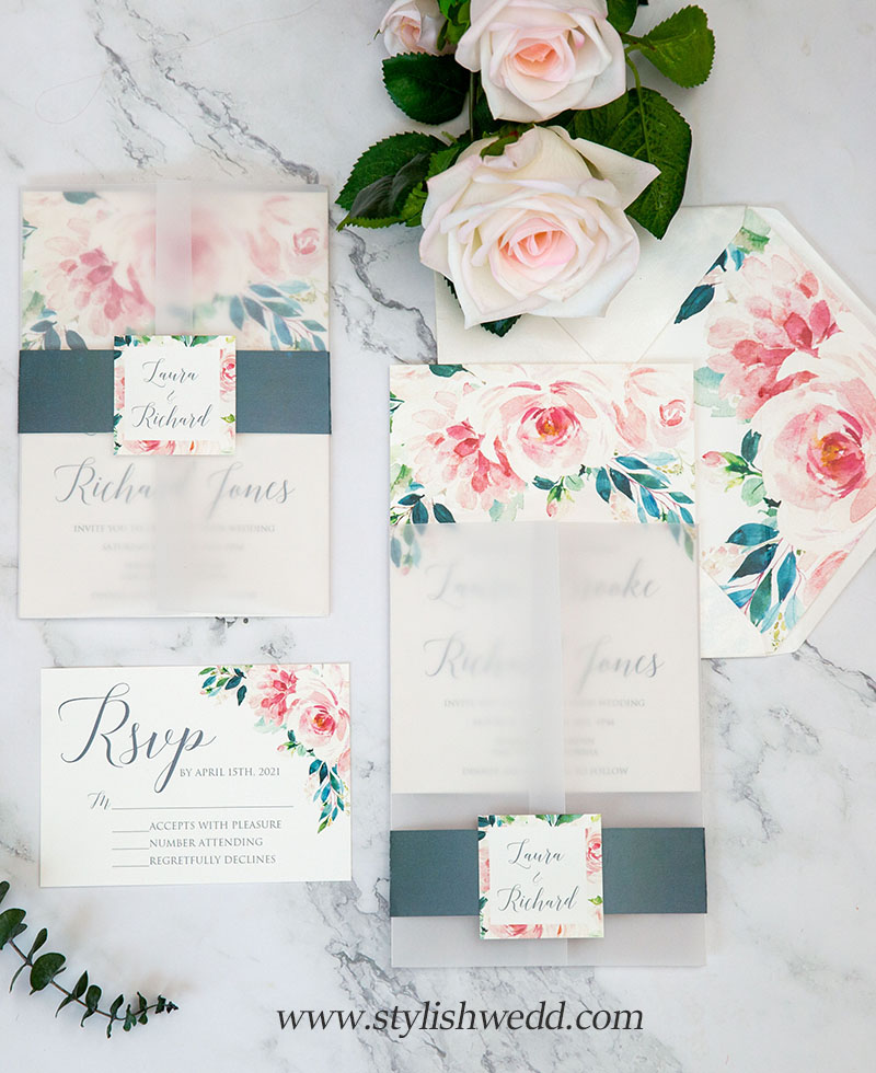 elegant blush pink floral vellum jacket wedding invitations with matching lovely tag