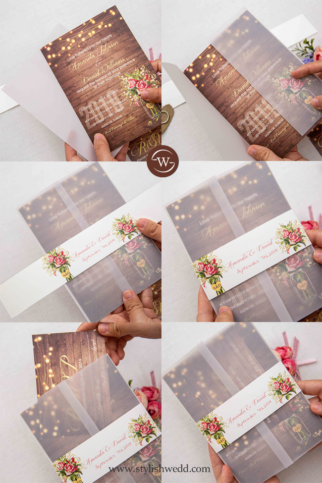 rustic stringlights and babybreath mason jar wood wedding invitation with vellum pocket and belly band