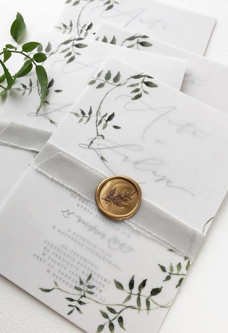 simple greenery wedding invites ideas with vellum overlay and wax seal