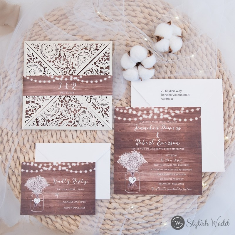 Ivory Laser Cut Fold invitation with realistic wood background and string light SWWS080