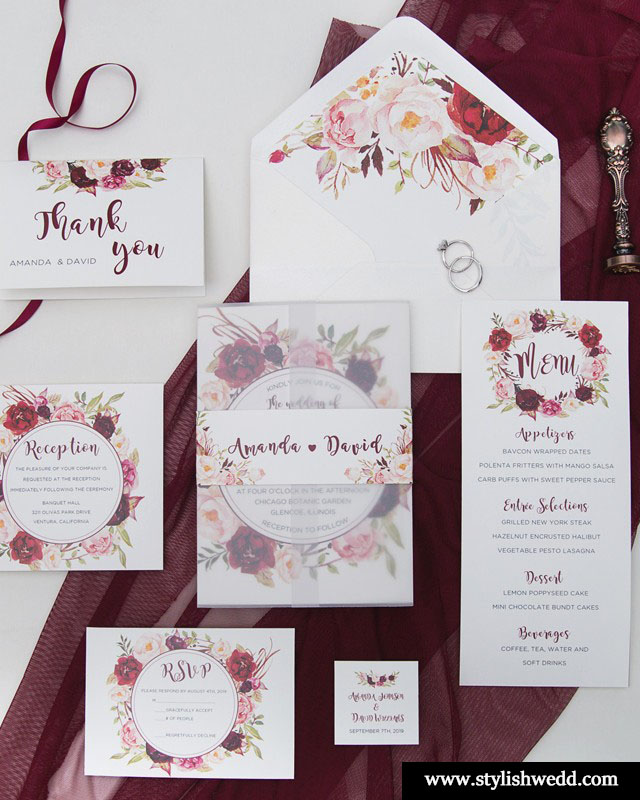 affordable fall burgundy and blush floral wedding invitation suite with vellum pocket and belly band