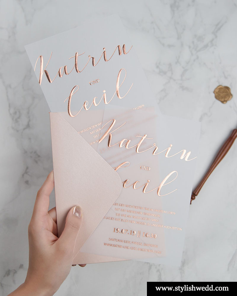 elegant foil wedding invitation on vellum paper with blush envelops