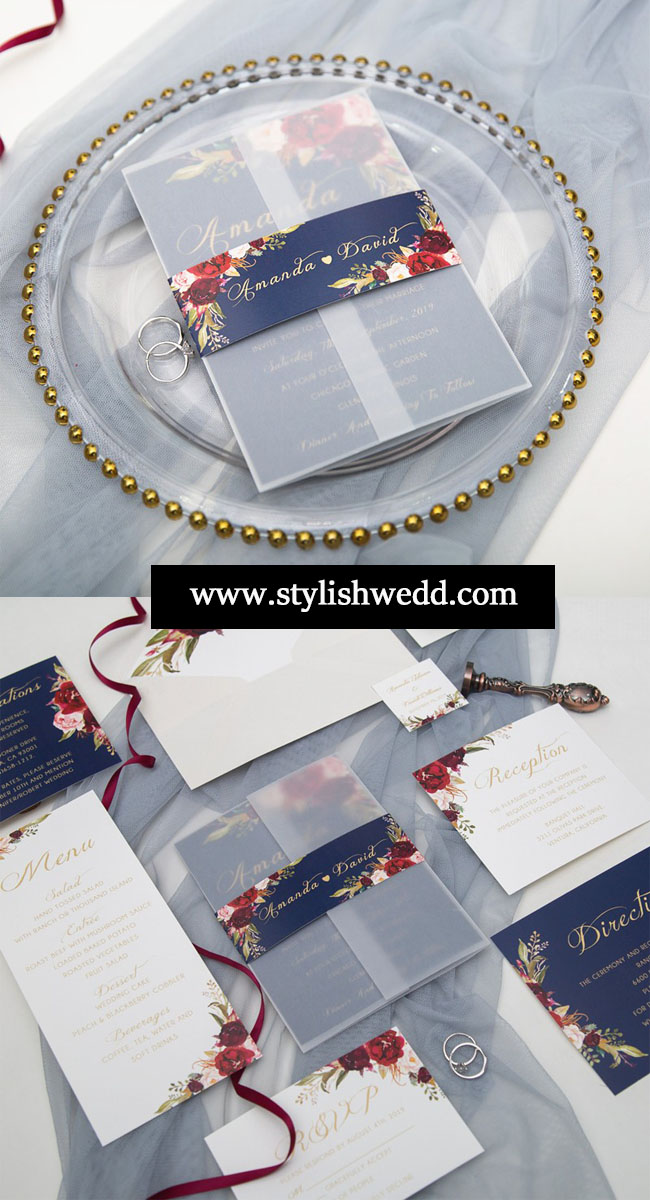 elegant navy blue and burgundy floral wedding invitation suite for vintage wedding