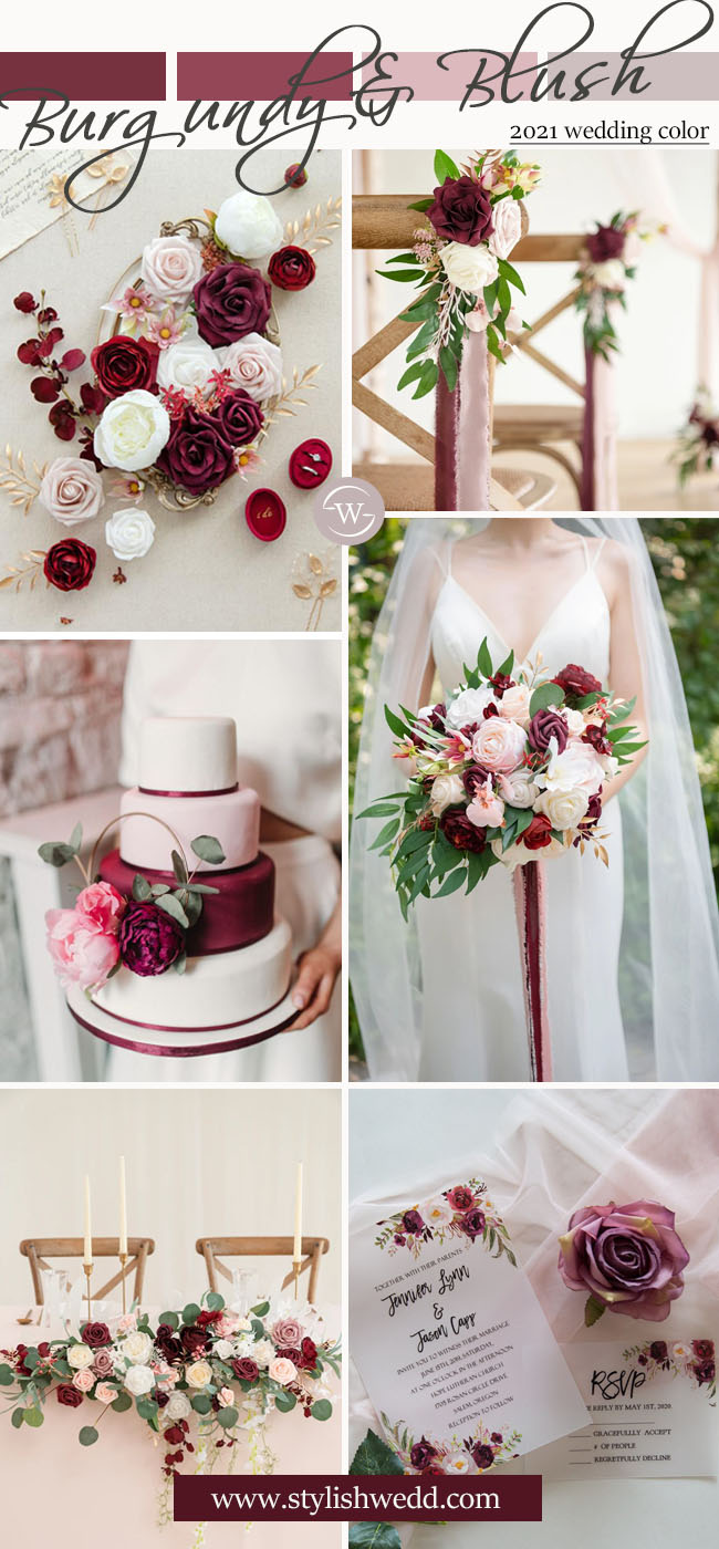 elegant romantic burgundy and blush wedding color ideas from stylishwedd