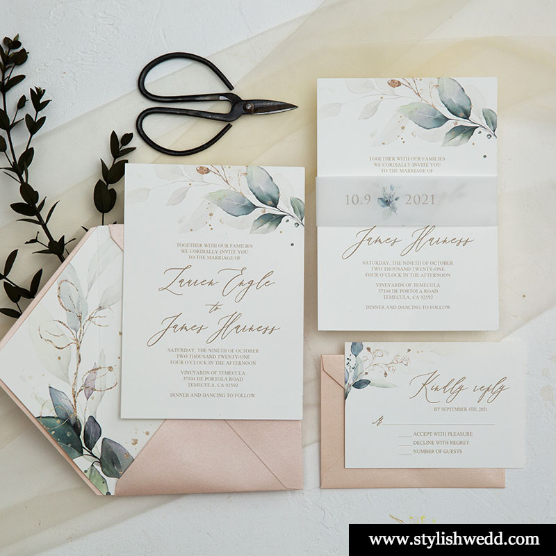 elegant romantic greenery wedding invitations with wax seal