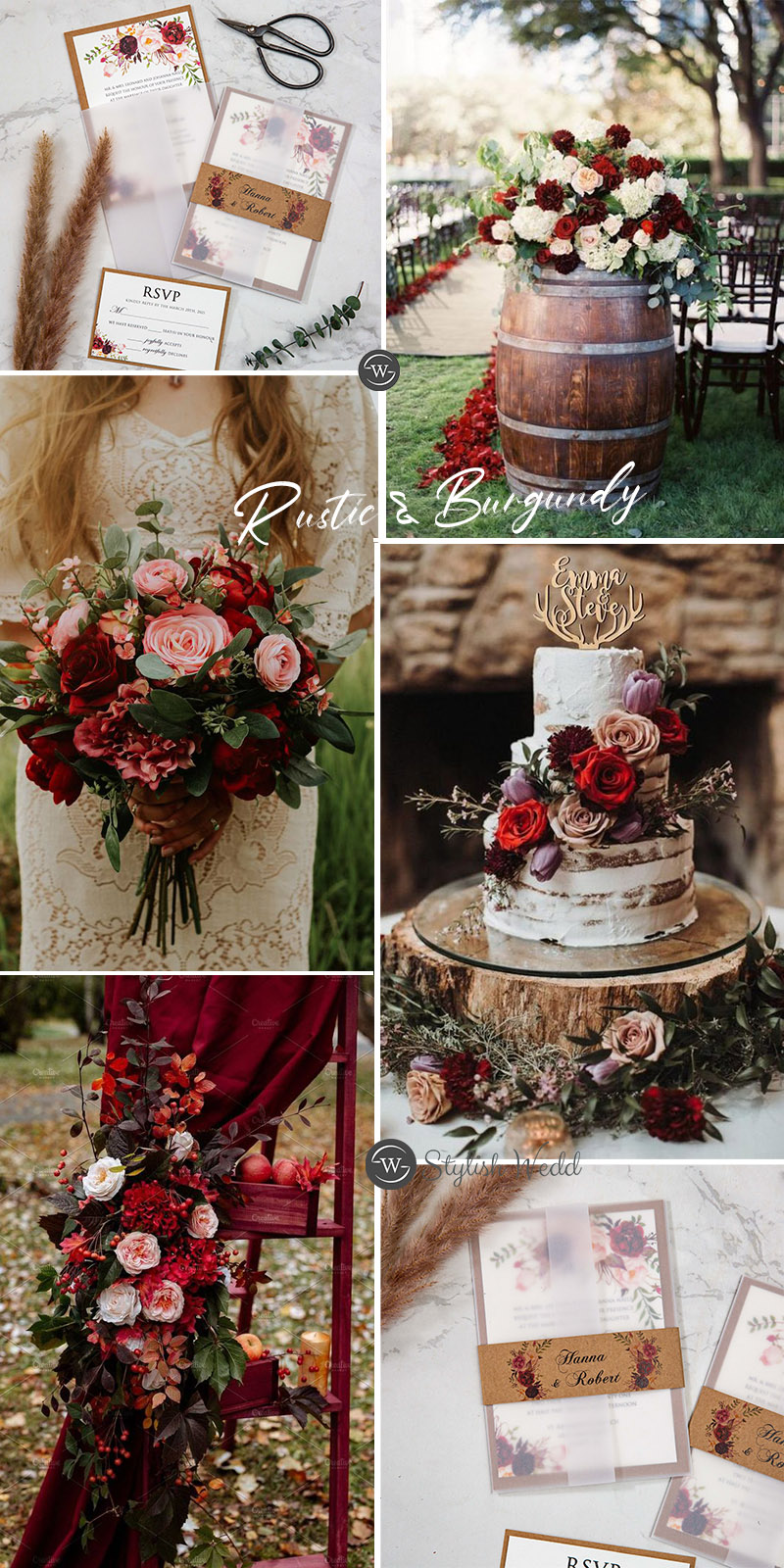 elegant rustic burgundy wedding ideas