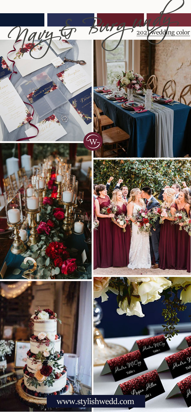 fall burgundy and navy blue wedding color ideas with matched invitations