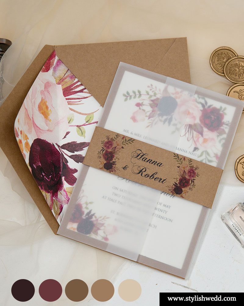 gorgeous fall burgundy rustic affordable wedding invitations from stylishwedd