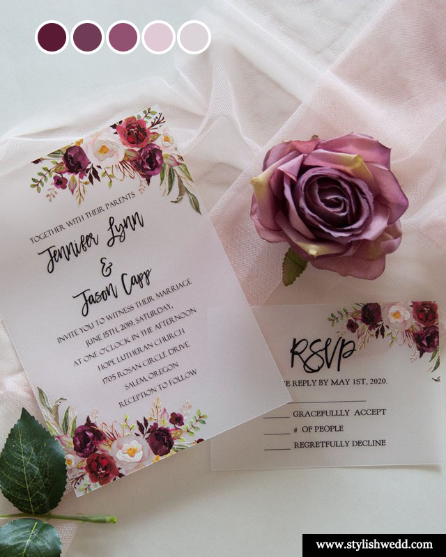 inexpensive buurgundy purple and blush floral vellum paper wedding invitations with UV printing