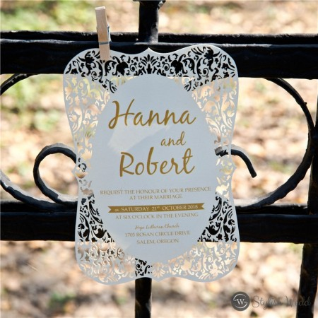ivory shimmery laser cut wedding invitation bracket shape SWWS086