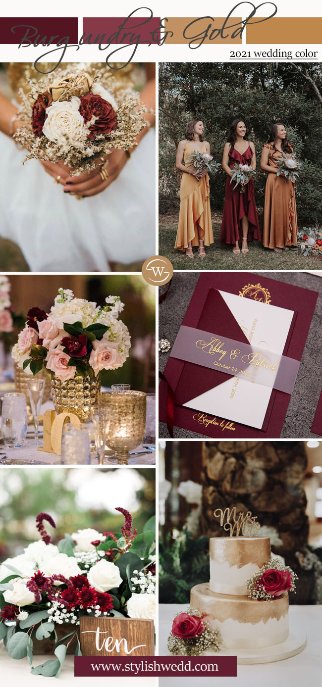 luxury burgundy and gold wedding color ideas