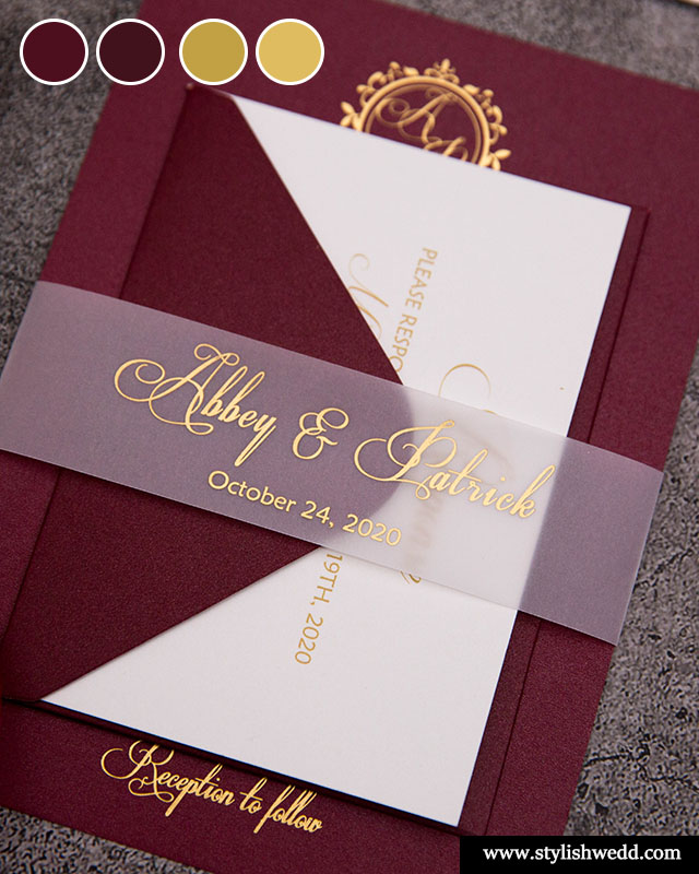luxury foil burgundy and gold wedding invitation suite ideas