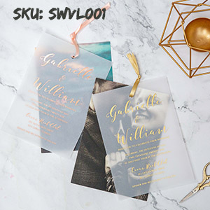 modern custom photo rustic wedding invitation with rose gold gold silver foil vellum paper layered SWVL001