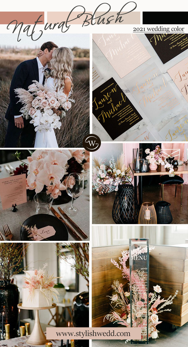 natural blush and moody black modern wedding color ideas