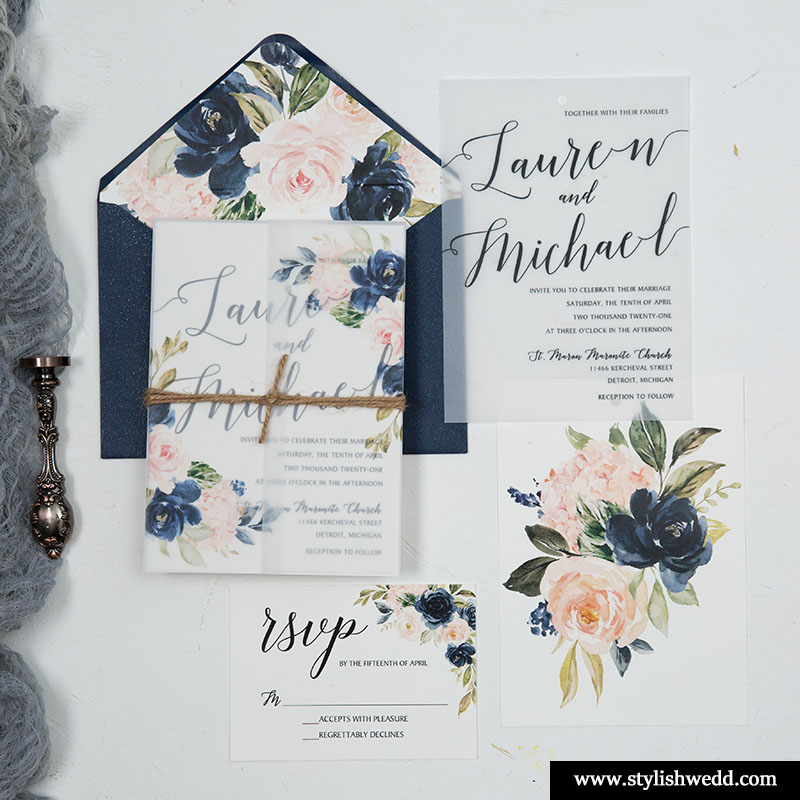 navy blue and blush floral wedding invitations on vellum paper