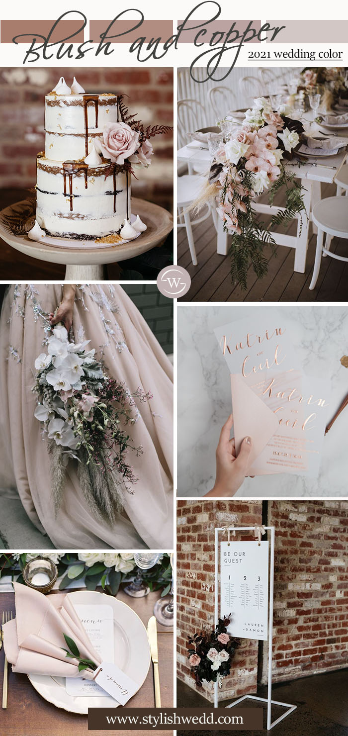 pastel pink and copper rustic vintage wedding color ideas
