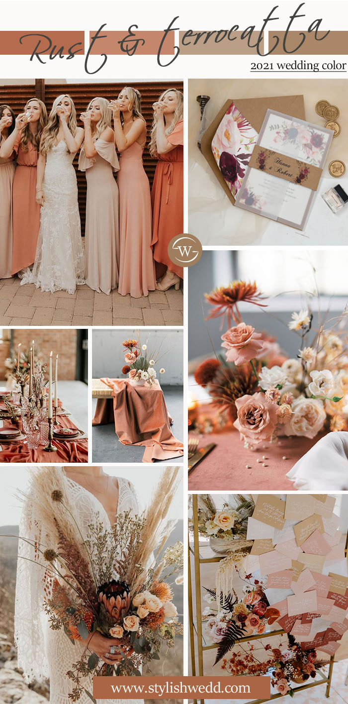 rust and terrocatta fall color ideas for rustic boho wedding